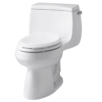 KOHLER K-3615-0 Gabrielle Comfort Height One-Piece Elongated 1.28 GPF Toilet with AquaPiston Flush Technology and Left-Hand Trip Lever, White