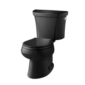KOHLER K-3987-47 Wellworth Two-Piece Round-Front Dual-Flush Toilet with Class Five Flush System and Left-Hand Trip Lever, Almond